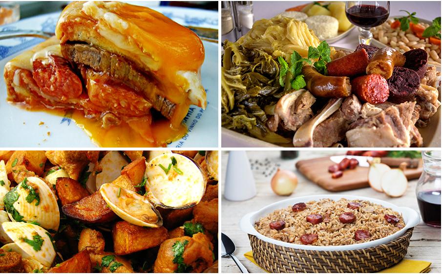 Francesinha; Cozido à Portuguesa; Carne de Porco à Alentejana and Duck Rice