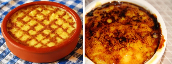 Traditional Portuguese rice pudding topped with cinnamon Creamy dessert made with milk, eggs, and burnt sugar