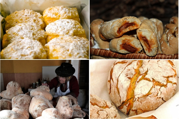 Pão de Deus (sweet bread with coconut and powder sugar), Chorizo Bread, Alentejo Bread and Broa (Corn Bread)